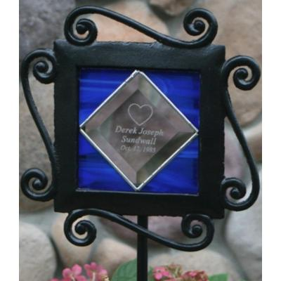 Memorial Wrought Iron Stained Glass Garden Stake